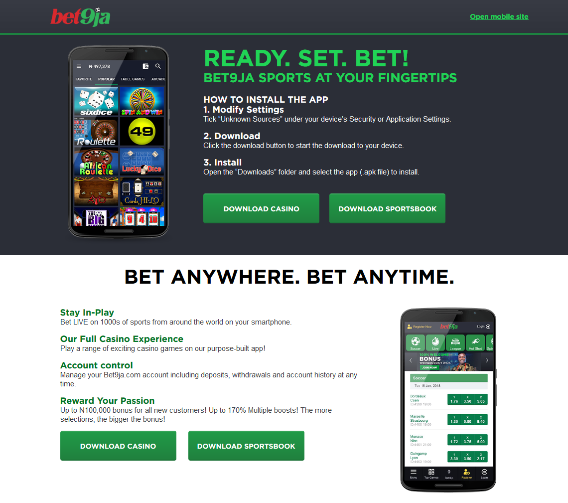 General features of Bet9ja application, how to download and use